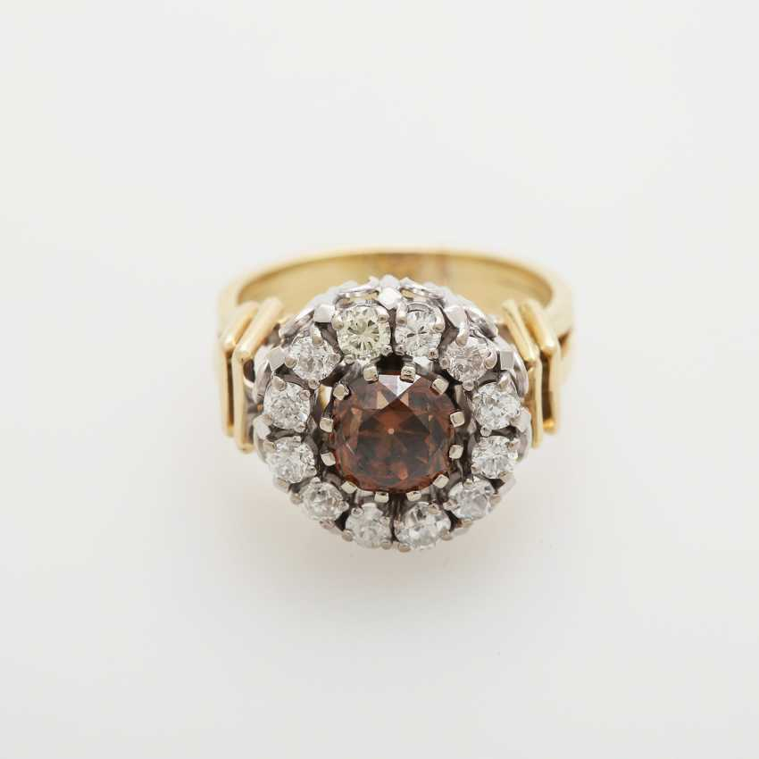 Ring with diamonds; - photo 1