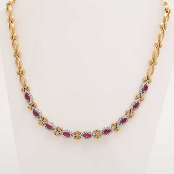 Necklace with rubies and diamonds, - photo 1