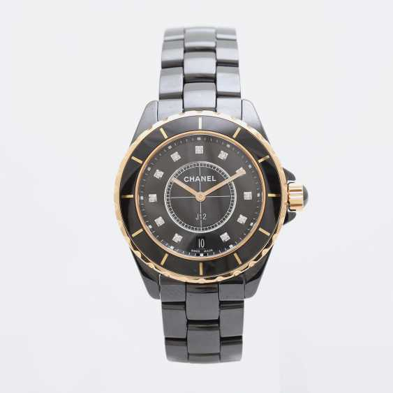 "CHANEL watch ""J12"" in black ceramic with rose gold 18K. - photo 1"
