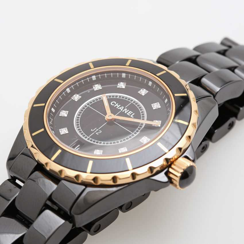 "CHANEL watch ""J12"" in black ceramic with rose gold 18K. - photo 3"