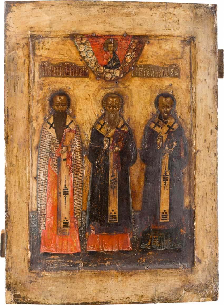 LARGE ICON OF THE THREE HOLY HIERARCHS OF THE ORTHODOX CHURCH - photo 1