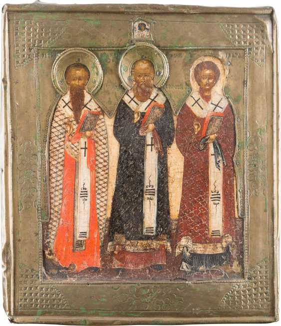 ICON WITH THE THREE ORTHODOX FATHERS OF THE CHURCH WITH RIZA - photo 1