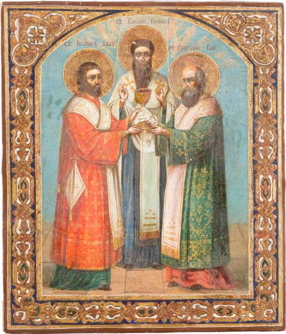 ICON OF THE THREE HOLY FATHERS OF THE CHURCH JOHN CHRYSOSTOM, BASILIO THE GREAT AND GREGORIOS THE THEOLOGIAN - photo 1