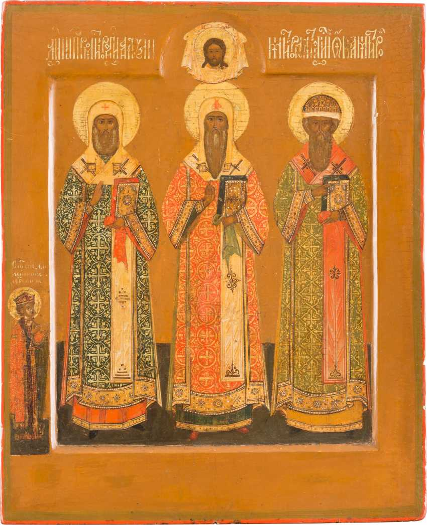 ICON WITH THE THREE METROPOLITANS OF MOSCOW - AN ADVOCATE FOR THE WHOLE OF RUSSIA - photo 1
