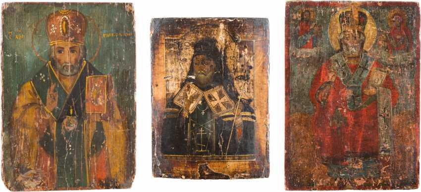 THREE ICONS: ST NICHOLAS OF MYRA, AND MITROFAN OF VORONEZH - photo 1