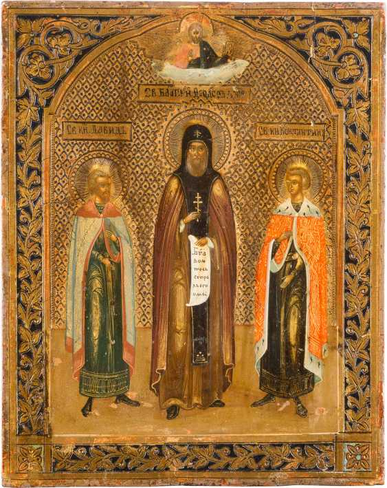 A SMALL ICON WITH THE SAINT OF Yaroslav length: PRINCE FEODOR and HIS SONS CONSTANTINE AND DAVID - photo 1