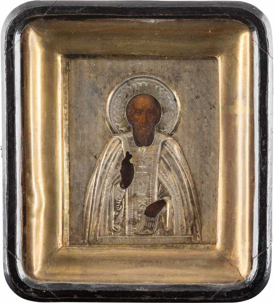 A SMALL ICON WITH THE HOLY SERGEI OF RADONEZH SILVER OKLAD IN THE ICON CASE - photo 1