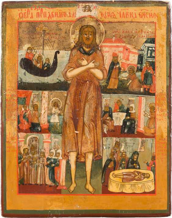 RARE ICON OF THE HOLY ALEXEI, MAN OF GOD, WITH SCENES FROM HIS LIFE - photo 1