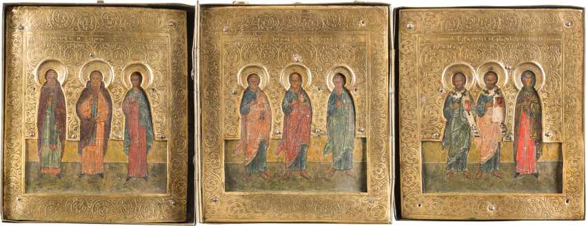 SMALL TRIPTYCH WITH SELECTED SAINTS WITH RIZA - photo 1