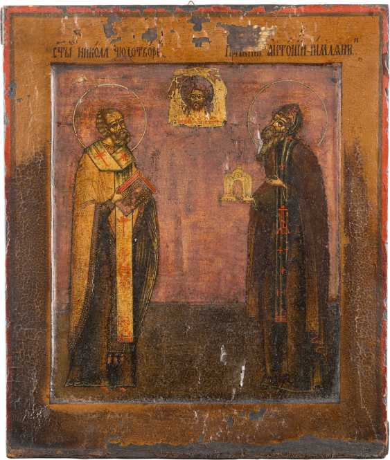 ICON WITH SAINT NICHOLAS AND ANTHONY THE ROMAN - photo 1