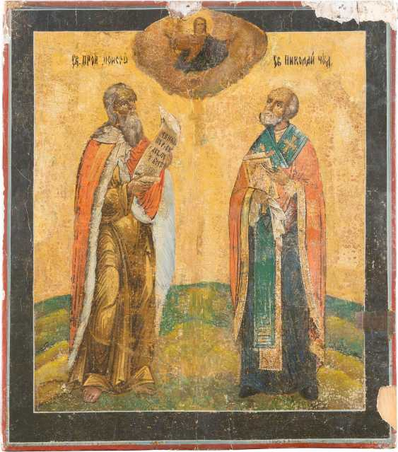 SIGNED DOUBLE-SIDED ICON: MOTHER OF GOD 'NON-COMBUSTIBLE BUSH' AND TWO HOLY - photo 1