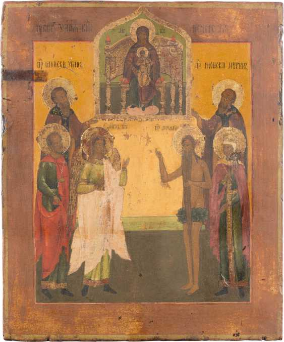 ICON WITH THE ENTHRONED MOTHER OF GOD AND SIX PATRONAL SAINTS - photo 1