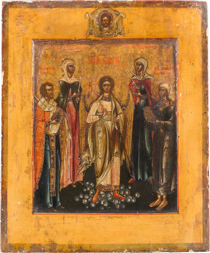 PATRONAL ICON WITH ANGELS AND FOUR SAINTS - photo 1