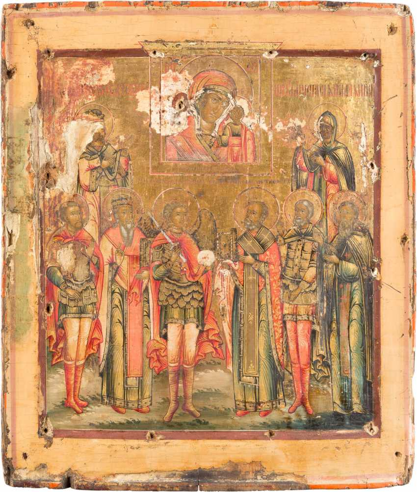 ICON OF THE MOTHER OF GOD OF KAZAN WITH EIGHT PATRONAL SAINTS - photo 1