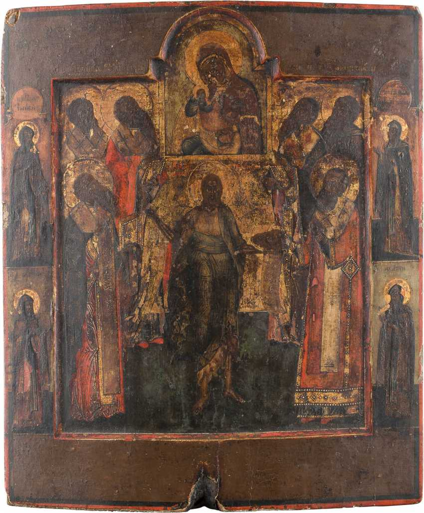 ICON OF THE MOTHER OF GOD, THE HOLY JOHN THE PRECURSOR AND THE SIX CHURCH OF THE HOLY - photo 1