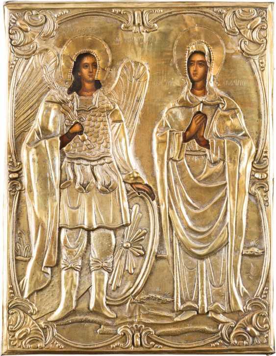 ICON WITH BRASS OKLADurchmesser: HOLY ARCHANGEL MICHAEL AND SAINT TATIANA - photo 1