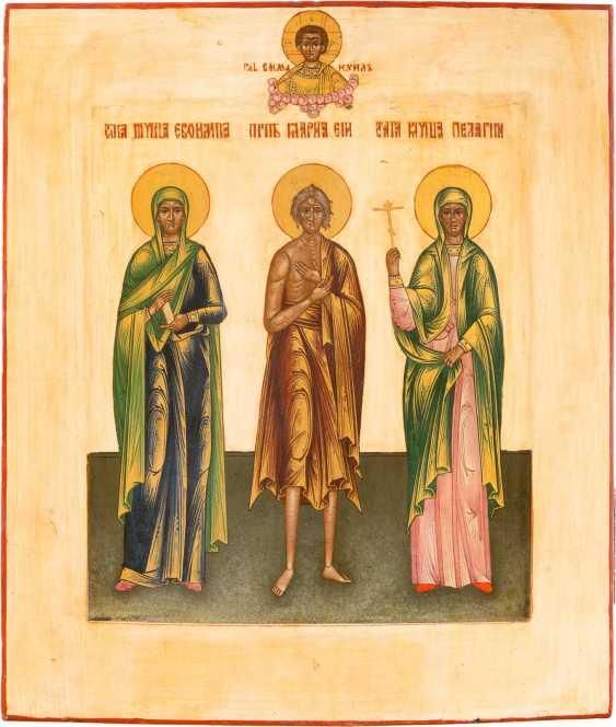 ICON WITH THREE SAINTS: EUFIMIJA, MARY OF EGYPT, PELAGIA - photo 1
