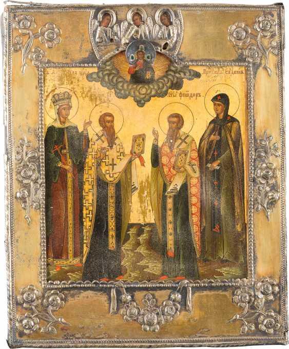 PATRONAL ICON OF THE SAINT ALEXANDRA, SAINT BASIL THE GREAT, FEODOR AND EUDOKIA WITH VERMEIL-BASMA - photo 1