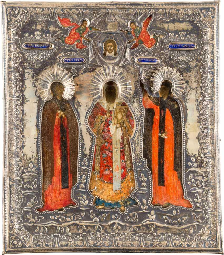 PATRONAL ICON OF THE HOLY PELAGIA, THE METROPOLITANS PETR AND PARASKEVA WITH VERMEIL-RIZA - photo 1