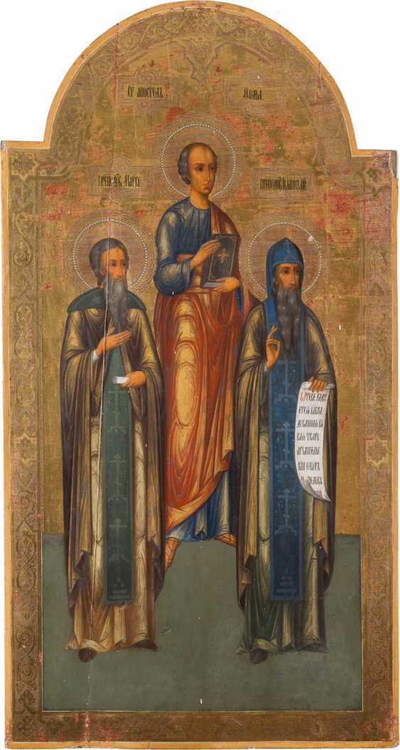 A MONUMENTAL ICON OF THE APOSTLE THOMAS AND THE SAINTS MARK AND JOHN FROM A CHURCH ICONOSTASIS - photo 1
