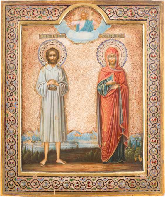 BIG PATRONAL ICON OF THE HOLY ALEXEI, AND OF THE HOLY ANNA - photo 1