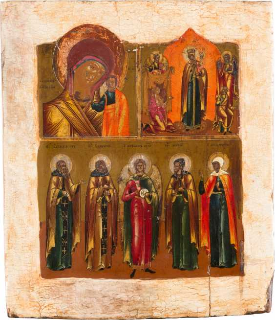 THREE FIELDS ICON WITH TWO MERCY PICTURES OF THE MOTHER OF GOD AND FIVE FAMILIES-HOLY - photo 1
