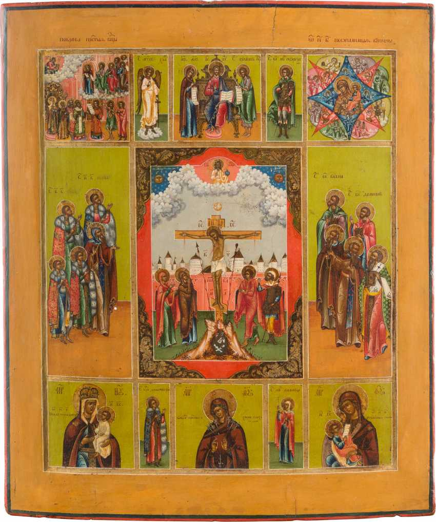 FINE AND LARGE-SCALE MULTI-FIELD ICON WITH THE CRUCIFIXION OF CHRIST, MERCY PICTURES OF THE MOTHER OF GOD AND SELECTED SAINTS - photo 1