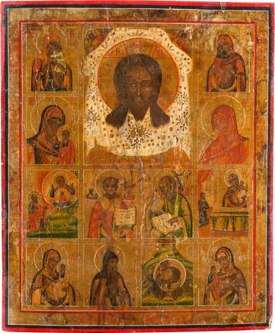 LARGE MULTI-SQUARE ICON WITH THE MANDYLION, MERCY PICTURES OF THE MOTHER OF GOD AND SELECTED SAINTS - photo 1
