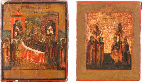 TWO SMALL ICONS: PATRONAL SAINTS AND THE DORMITION OF THE MOTHER OF GOD - photo 1