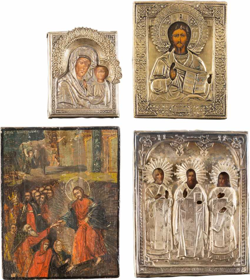 FOUR ICONS: THE DESCENT INTO HELL OF CHRIST, THE MOTHER OF GOD OF KAZAN, CHRIST PANTOCRATOR, AND THE THREE HIERARCHS - photo 1