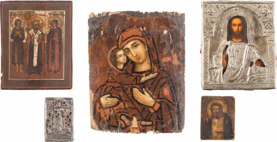 FIVE SMALL ICONS WITH THE MOTHER OF GOD, CHRIST PANTOCRATOR, AND VARIOUS SAINTS - photo 1
