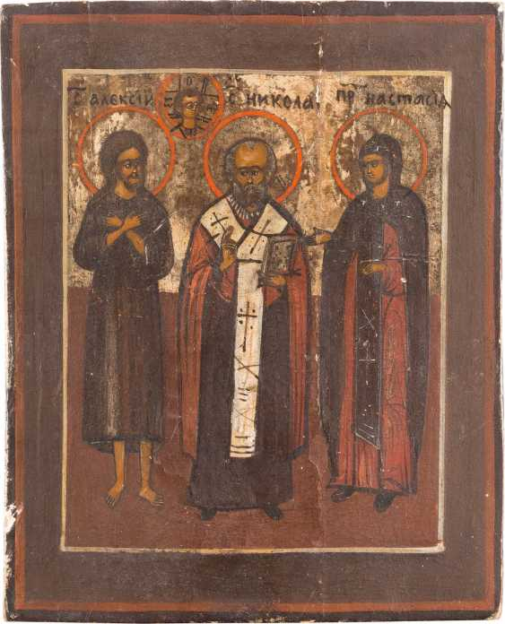 FIVE SMALL ICONS WITH THE MOTHER OF GOD, CHRIST PANTOCRATOR, AND VARIOUS SAINTS - photo 3