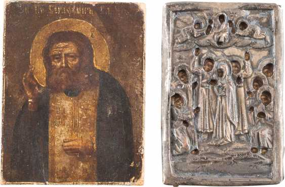 FIVE SMALL ICONS WITH THE MOTHER OF GOD, CHRIST PANTOCRATOR, AND VARIOUS SAINTS - photo 5