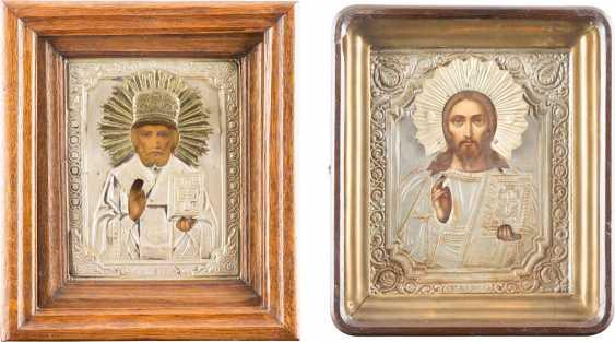 ZWEI IKONEN MIT OKLAD UND KIOTiefe: CHRISTUS PANTOKRATOR UND HEILIGER NIKOLAUS - photo 1