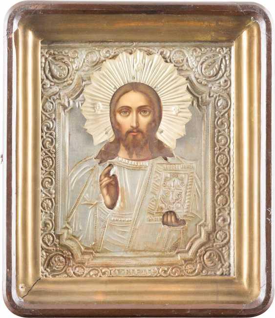 ZWEI IKONEN MIT OKLAD UND KIOTiefe: CHRISTUS PANTOKRATOR UND HEILIGER NIKOLAUS - photo 3