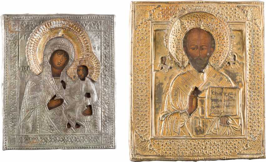 TWO ICONS WITH OKLADurchmesser: mother of GOD WITH Christ child AND SAINT NICHOLAS - photo 1