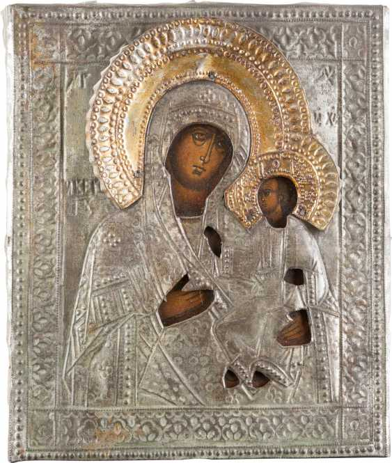 TWO ICONS WITH OKLADurchmesser: mother of GOD WITH Christ child AND SAINT NICHOLAS - photo 2