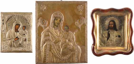 THREE ICONS: TWO OF THE MOTHER OF GOD-REPRESENTATIONS, AND CHRIST PANTOCRATOR IN THE ICON CASE - photo 1