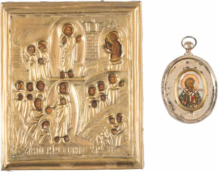 CHEST ICON WITH THE SAINTS NICHOLAS OF MYRA AND A SMALL ICON WITH THE ANASTASIS WITH OKLAD - photo 1