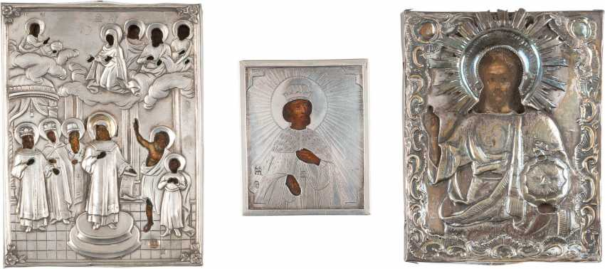 THREE miniature icons WITH SILVER-OKLADurchmesser: mother of GOD POKROV, SAINT ALEXANDER NEVSKY, AND CHRIST PANTOCRATOR - photo 1