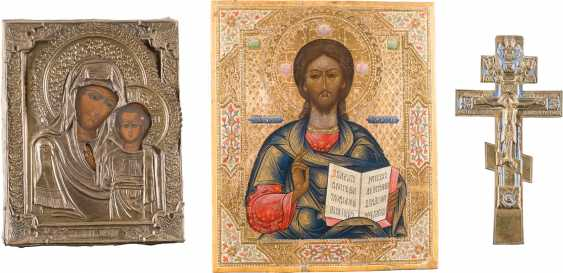 THREE ICONS: CHRIST PANTOCRATOR, THE MOTHER OF GOD OF KAZAN WITH OKLAD AND CRUCIFIXION - photo 1