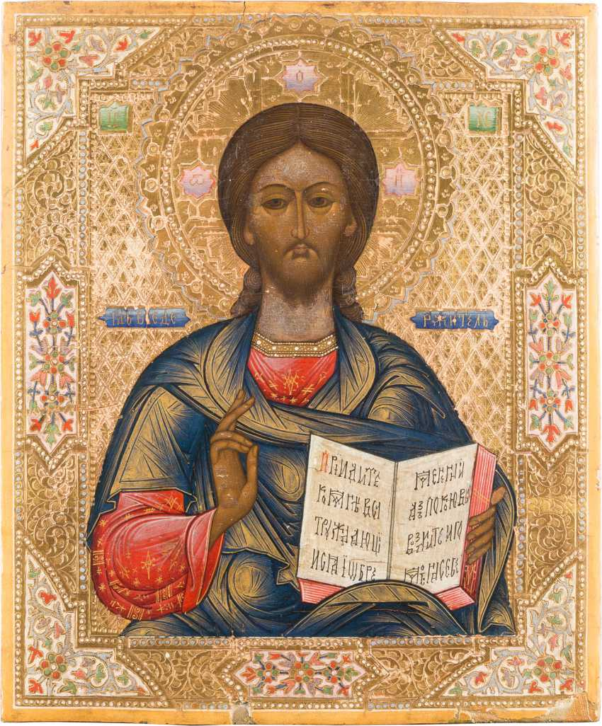 THREE ICONS: CHRIST PANTOCRATOR, THE MOTHER OF GOD OF KAZAN WITH OKLAD AND CRUCIFIXION - photo 4