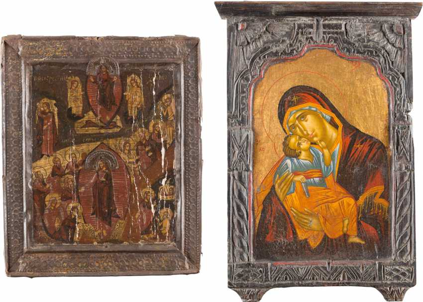 TWO ICONS: THE DESCENT INTO HELL AND RESURRECTION OF CHRIST AND OF THE MOTHER OF GOD 'GLYKOPHILOUSA' - photo 1
