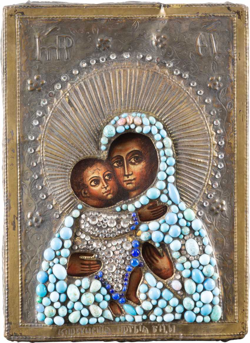 TWO ICONS: MOTHER OF GOD WITH OKLAD CHRIST OF SMOLENSK - photo 1