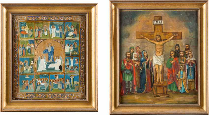 TWO LARGE ICONS: TAGS ICON AND CRUCIFIXION OF CHRIST WITH SELECTED SAINTS - photo 1