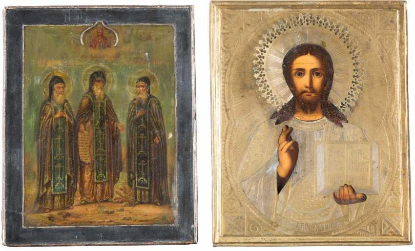 TWO ICONS: CHRIST PANTOCRATOR WITH MESSINGOKLAD AND THREE MONASTERY OF SAINT - photo 1