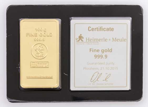 1 - gold bullion 100g gold bars, the manufacturer Heimerle + Meule, - photo 1