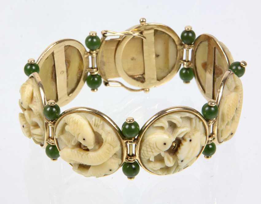 antikes Jade Schnitzerei Armband - Gelbgold 585 - photo 1