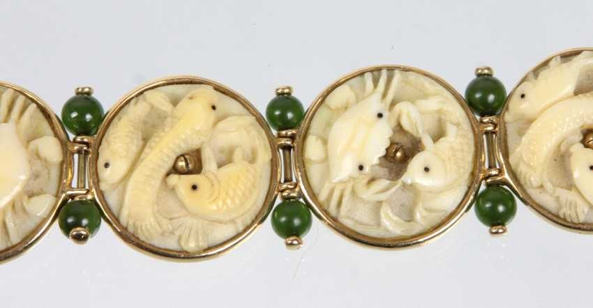 antikes Jade Schnitzerei Armband - Gelbgold 585 - photo 2