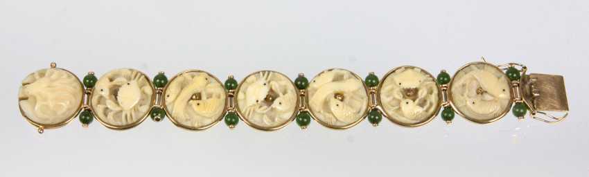 antikes Jade Schnitzerei Armband - Gelbgold 585 - photo 4
